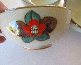 Vintage Floral Stoneware Bowls Set of 3