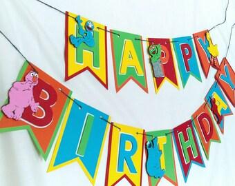 Sesame Street birthday banner, sesame Street first birthday, sesame Street decorations