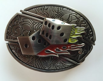 Flame Dice Belt Buckle with Knife included