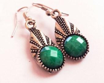 Bohemian Silver Earrings, Boho Green Earrings, Tibetan Silver Earrings, Boho Silver Earrings, Boho Drop Earrings, Ethnic Silver Earrings