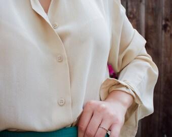 Vintage Jones New York Button Front 100% Silk Blouse - Size 6