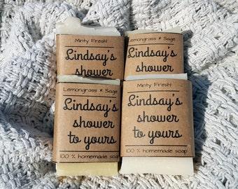 20 Bridal Shower or Wedding Soap Favors-Handmade Organic Favors-Rustic Favors