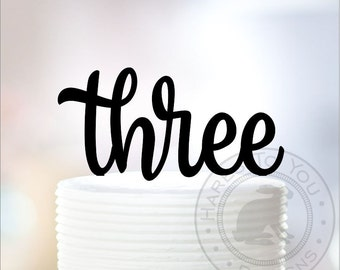 Three Cake Topper - 3rd Birthday Cake Topper - Third Birthday Cake Topper - 71-103