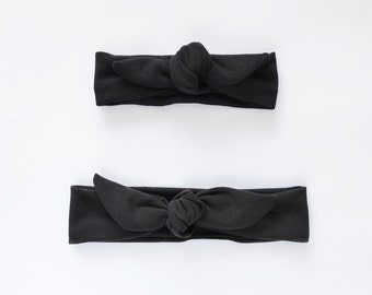 Black Set for Mommy and me, Tie headwrap Set in Any COLORS, new mom gift