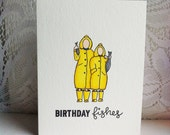 Birthday Fishes Handmade Punny Card Birthday Card Birthday Pun