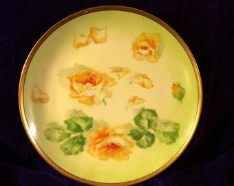 Yellow Plate with Yellow Roses