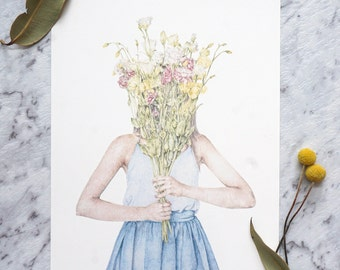 Fashion Illustration Print, Flower Girl Art, Wildflower Illustration Print, Mother's Day Gift, Girl with Wildflowers Bouquet Art Print