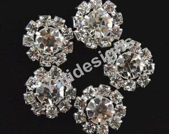 Set of 10pcs 15mm Metal Sparkly Rhinestone Brooch-Flower Crystal Style-Wedding & Children Headbands or Hair Clips-YTB53