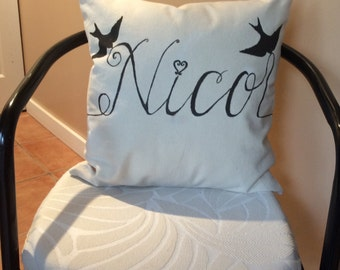 Hand Painted Bird/Personalized Two Sides Canvas Accent Pillow