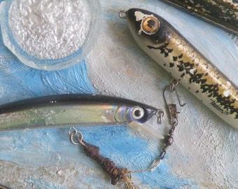 Beach Art, Brevard Beach Trash Art, Lures with Foil, Mixed Media, Assemblage, Heddon Lure, Sea Glass, Faux Finish Frame, by Melinda J King