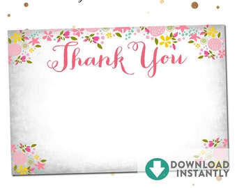SALE //  Instant Download 4X6 Printable Thank You Flat Card  // Shabby Floral // Design No.841