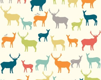 Elk Grove deer in multi 100% organic cotton knit fabric by Birch Fabric from Elk Grove line