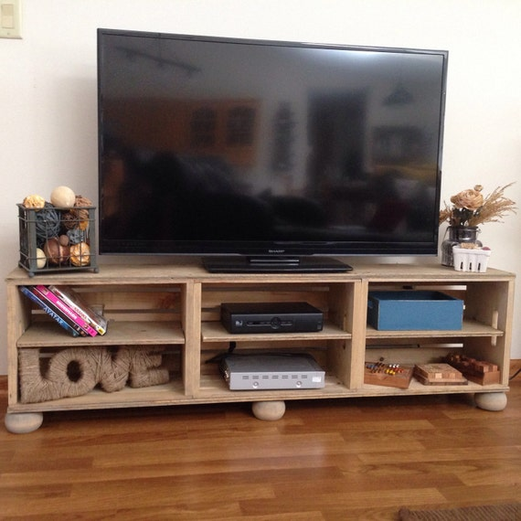 3 Wood Wine Crate Media Center Tv Stand Rustic Farmhouse