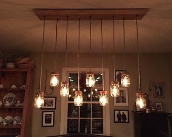 9 Light DIY Mason Jar Chandelier - Rustic Lighting - Rustic Wood Chandelier - Vintage Lighting - Mason Jar Pendants - Standard Socket (E26)