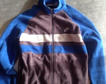 Vintage Nike Cotton Zip Up Jumper Size M light Blue/Grey