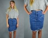 Denim Skirt | 1980 GIORGIO SANT' ANGELO Distressed Frayed Denim Pencil Skirt 80s High Waist Mini | Large