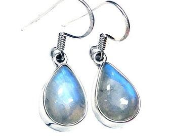 Sterling Silver Teardrop-Shaped Rainbow Moonstone Earrings