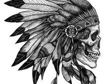 Native American Skull - Temporary tattoos