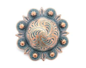 "Berry Concho Antique Copper Patina All Metal 3/4"" 7863-90"
