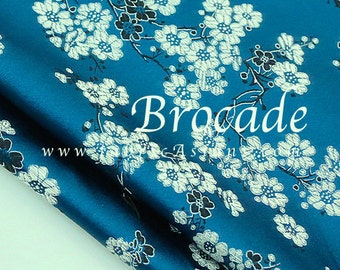 Greenish Blue brocade fabric. Cherry Blossom. Chinese Brocade. Cheongsam fabric