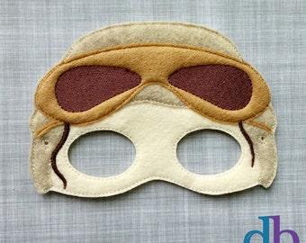 Girl Felt Embroidered Mask - Rey Mask - Kid & Adult - Pretend Play - Halloween Costume