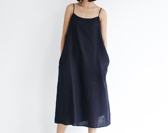 Womens Black Linen Camisole Dress,Spaghetti Straps Cami Dress,Sleeveless Minimalist Slip,Black/Yellow