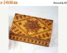"""30% Off SALE Beautiful 6"""" Wooden Box Carved Intricate Design on top of the lid"""