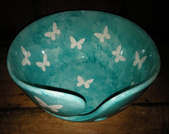 Hand Painted Ceramic Large Yarn Bowl Butterfly Design