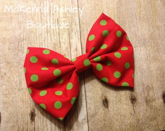 Red bow with Green Polk Dots