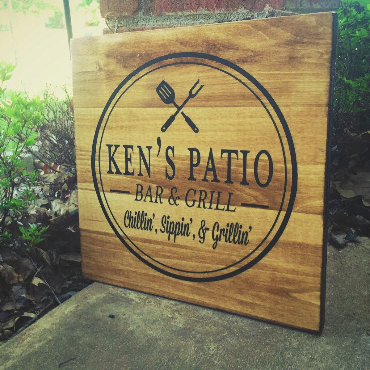 Custom Patio Sign Bar and grill sign Father's by ...