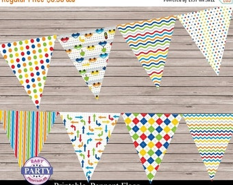 50% OFF Transportation Party Pennant Flag Banner, pennant flags, colorful, striped, dots, Instant Download, banner, any occasion, coordinati