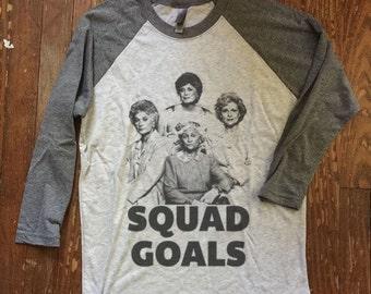 funny graphic tee Golden Girls Squad Goals  - Baseball ringer tee -  raglan sleeves, Tumblr Instagram Facebook Social Media