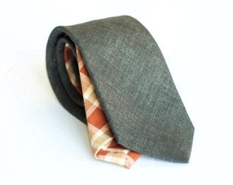 Dark brown linen tie, slim necktie
