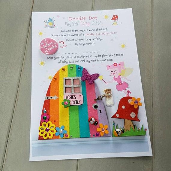 Fairy door rainbow fairy door hand painted by doodledotdorset for Rainbow fairy door