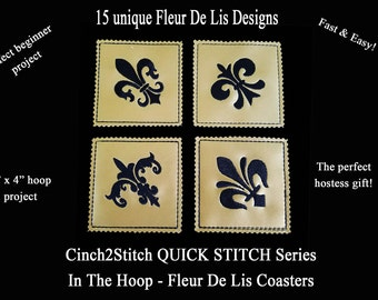 """Quick Stitch New Orleans Fleur De Lis Coasters - In The Hoop - Machine Embroidery Design Download (4"""" x 4"""" Hoop)"""