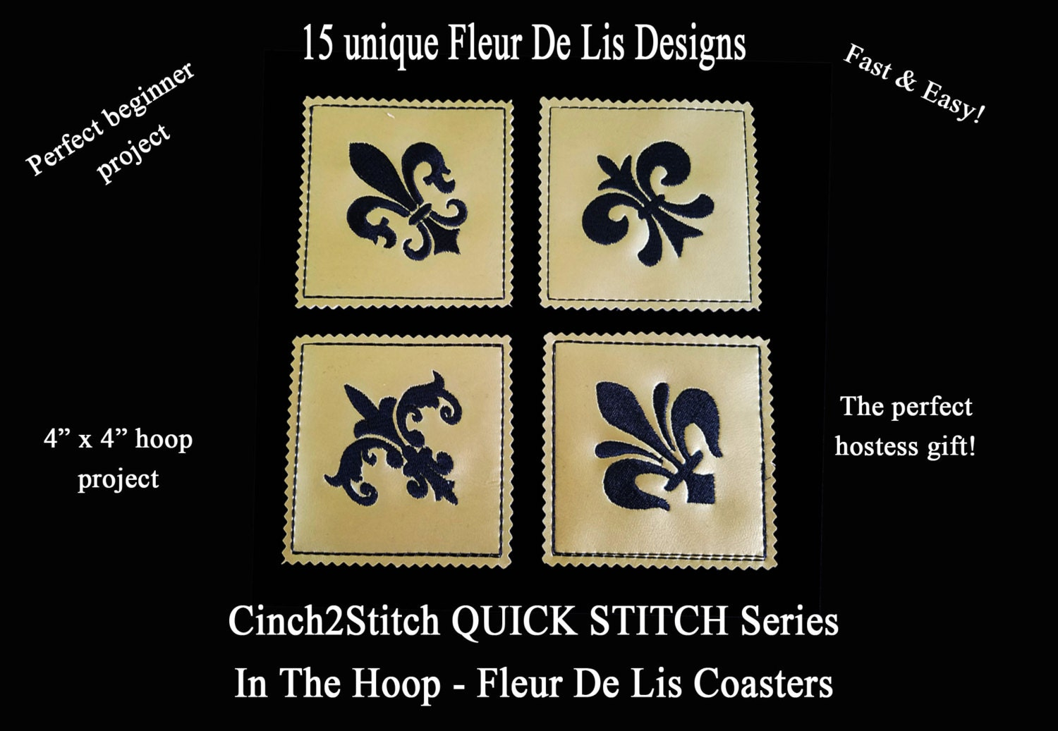 Quick Stitch New Orleans Fleur De Lis Coasters In The Hoop