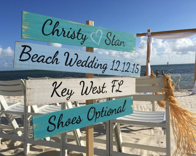 Wedding Nautical Sign, Rustic Wedding Decor Wood, Shoes Optional Directional Wedding Sign