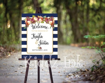 Wedding or Rehearsal Dinner Welcome Sign Poster | Navy and White Stripes | Wine and Cream Flowers | Personalized | DIY | DIGITAL PRINTABLE