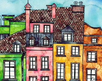 WARSAW POLAND Print 8x12 Ink and Watercolor Painting