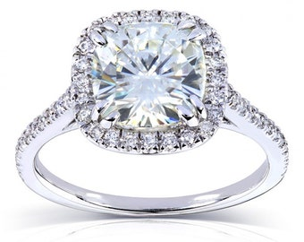 Cushion Moissanite and Diamond Engagement Ring 2 1/4 CTW in 18k White Gold
