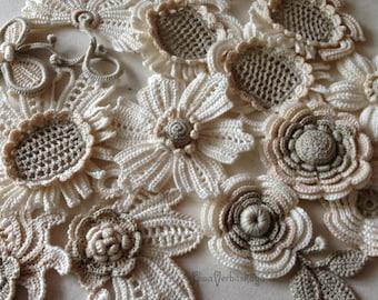 """Irish crochet  Motif crochet  Decor Jacket  Ivore   Evening dress  Boho   White  Flowers  leaves Crochet Handmade  Size 2""""- 4"""" (5-10 cm)"""
