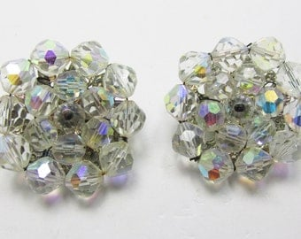 Classic Vintage 1950s Silver Toned Crystal Bead Earrings
