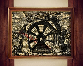 Hermetic print, occult art, magic poster, esoteric art, ancient wisdom, spiritual enlightment, gnostic illustration, magick, occultism #270