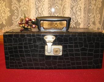 Vintage Crocodile-like jewelry or storage box