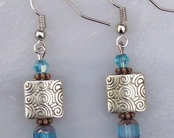 Spiral Square with Blue Earrings