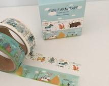 2 Rolls Washi Adhesive Tape Decorative Kawaii - Fun Farm Tape Set Animals Cow Squirrel Horse Duck Chicken Pig