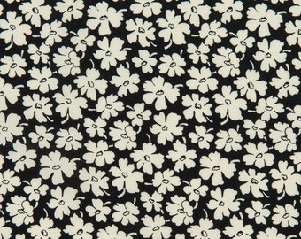 Windham Retro 1930s OOP Fabric - Feedsack III Collection - Mono Floral 25519-1 in Black and Cream - One Yard
