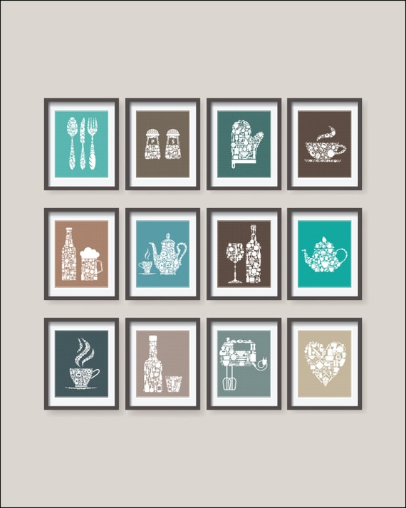 12 set kitchen collections decor kitchen poster 12 set for Kitchen decor collections