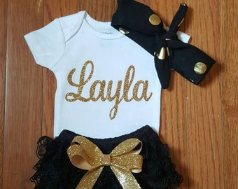 Gold Glitter Vinyl Bling with personalized name Onesie, black Lace Bloomers, & Headband Set, baby girl,newborn,hospital outfit,take home set