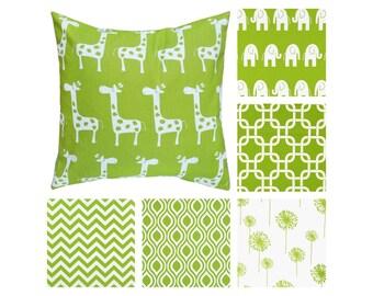 Green Decorative Pillow Cover.Green Throw Pillow.Elephant Kids Pillow.Giraffe Pillow.Green Chevron Pillow.Dandelion Toss Pillow